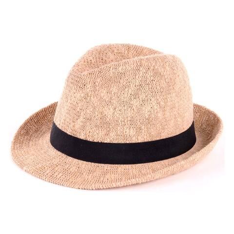 BYOS Fashion Boho Summer Straw Panama Fedora Sun Hat Wide Brim, Various Styles (Solid Woven W/Grosgrain Band Fedora)