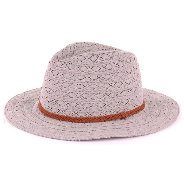 3a4748da129 Shop BYOS Fashion Boho Summer Straw Panama Fedora Sun Hat Wide Brim ...