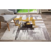 "Contemporary Modern Abstract Area Rug Gold - 7'10"" x 10'"