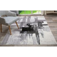 OSTI Contemporary/Modern Black/Grey Abstract Area Rug (7'10 x 10')