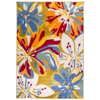 "OSTI Contemporary Abstract Floral Multicolor Area Rug - Multi - 7'10"" x 10'"