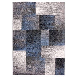 "OSTI Modern Geometric Boxes Blue Area Rug - 7'10"" x 10'"
