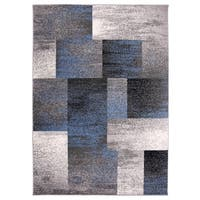 "OSTI Modern Geometric Boxes Blue Area Rug (7'10"" x 10')"