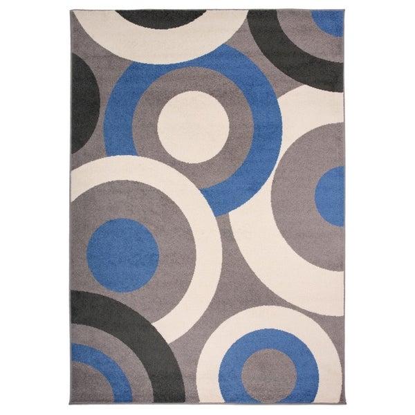 Osti Contemporary Modern Circles Blue Multicolor Area Rug 7 X27