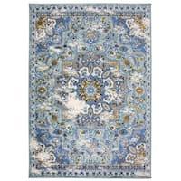 OSTI Traditional Oriental Distressed Blue Area Rug (7'10 x 10')
