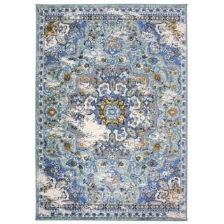 "OSTI Traditional Oriental Distressed Blue Area Rug - 7'10"" x 10'"
