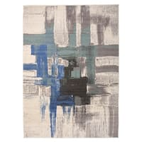 "OSTI Contemporary Modern Blue Abstract Area Rug - 7'10"" x 10'"