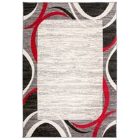 Contemporary Modern Red/Multicolor Border Area Rug (7'10 x 10')