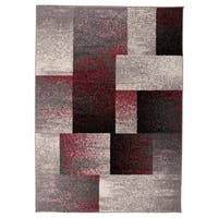 "OSTI Modern Geometric Boxes Red Area Rug - 7'10"" x 10'"
