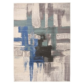 """Contemporary Modern Abstract Area Rug Blue - 3'3"""" x 5'"""