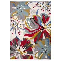 Contemporary Abstract Floral Area Rug Cream - 3'3 x 5'