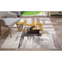 Contemporary Modern Abstract Area Rug Gold - 3'3 x 5'