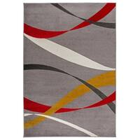 "OSTI Grey Contemporary Modern Waves Area Rug - 7'10"" x 10'"