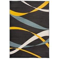 OSTI Contemporary Modern Waves Blue Area Rug - 7'10 x 10'
