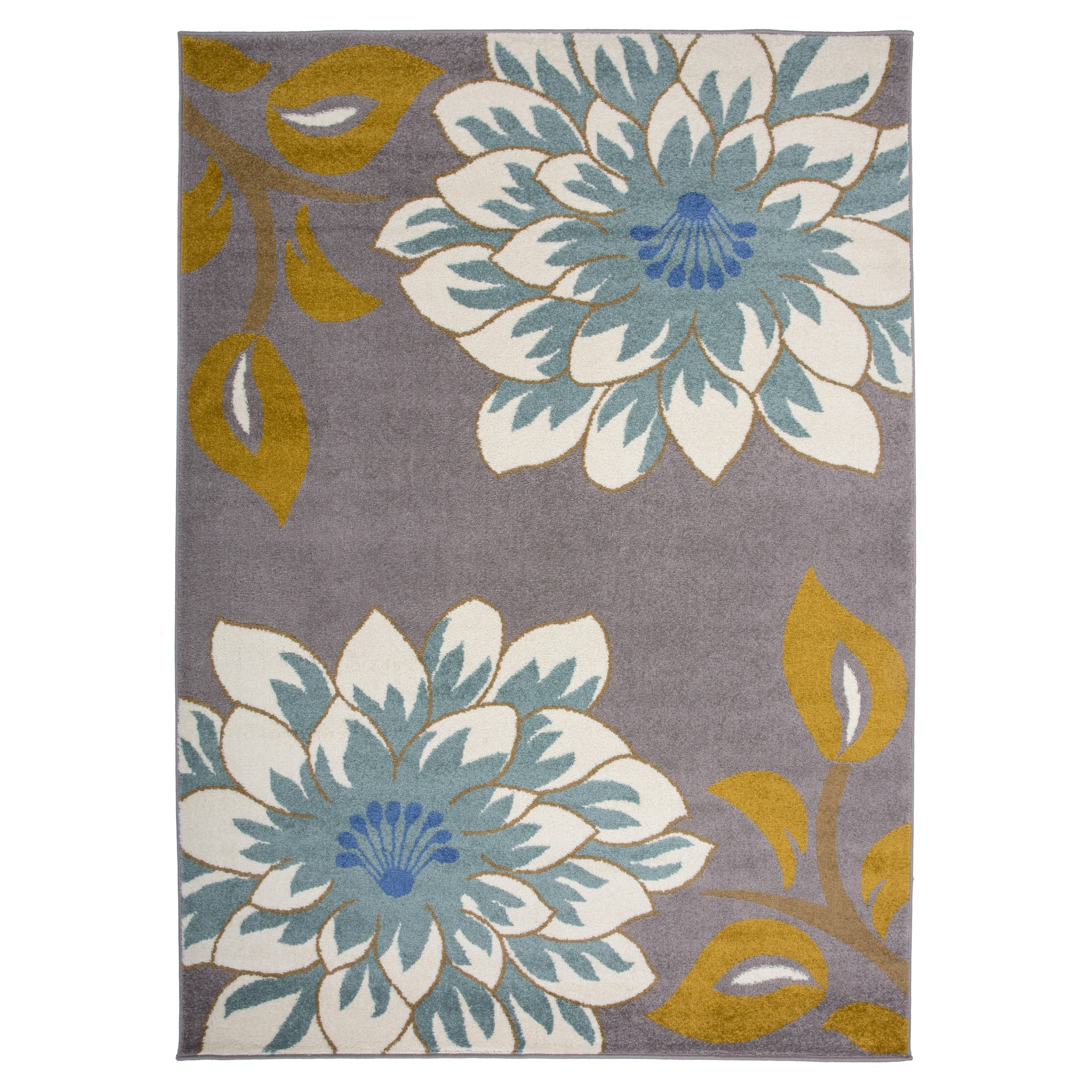 Transitional Large Floral Area Rug Gray 3 3 X 5