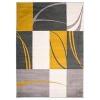 OSTI Gold Contemporary Boxes Stripes Area Rug (7'10 x 10')