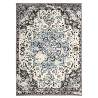 "Traditional Oriental Distressed Area Rug Gray - 3'3"" x 5'"