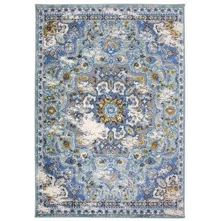 """Traditional Oriental Distressed Area Rug Blue - 3'3"""" x 5'"""