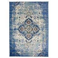 Traditional Distressed Oriental Design Area Rug Blue - 3'3 x 5'