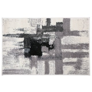 Contemporary Modern Abstract Rug Black - 2' x 3'