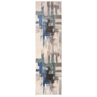 Contemporary Modern Abstract Runner Rug Blue - 2' x 7' Runner