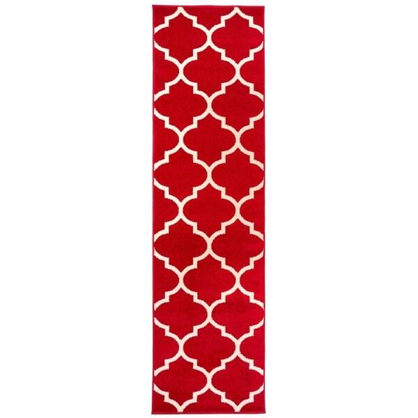 Shop Modern Moroccan Trellis Runner Rug Red