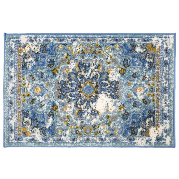 Traditional Oriental Distressed Rug Blue - 2' x 3'