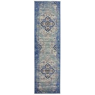 Traditional Distressed Oriental Design Runner Rug Blue - 2' x 7' Runner
