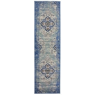 Traditional Distressed Oriental Design Runner Rug Blue - 2' x 7' Runner