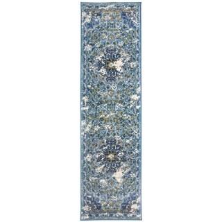 Traditional Oriental Distressed Runner Rug Blue - 2' x 7' Runner