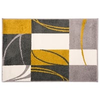 Contemporary Boxes Stripes Rug Gold - 2' x 3'