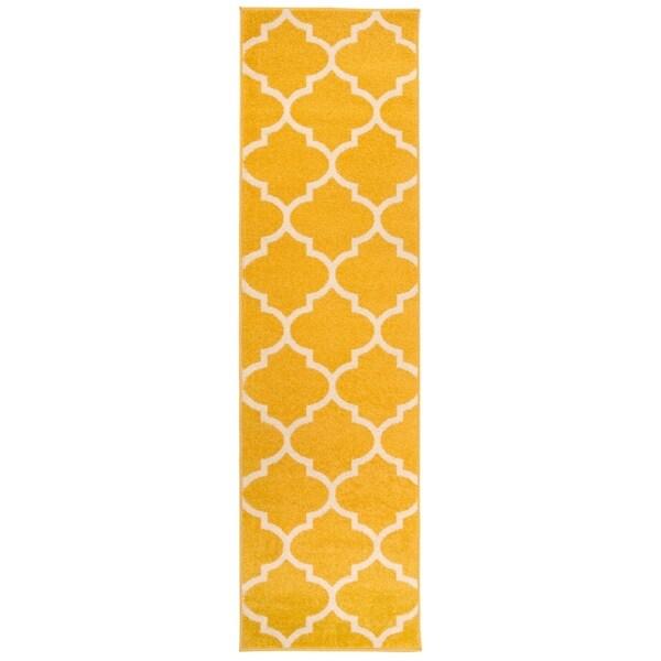 Shop Modern Moroccan Trellis Runner Rug Yellow