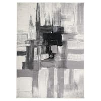 Contemporary Modern Abstract Area Rug Black - 5' x 7'