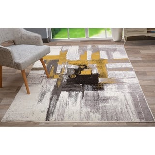 Contemporary Modern Abstract Area Rug Gold 5x7-ft Deals