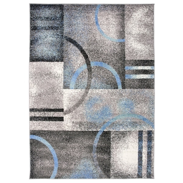 Geometric Modern Circles Area Rug Gray - 5' x 7'