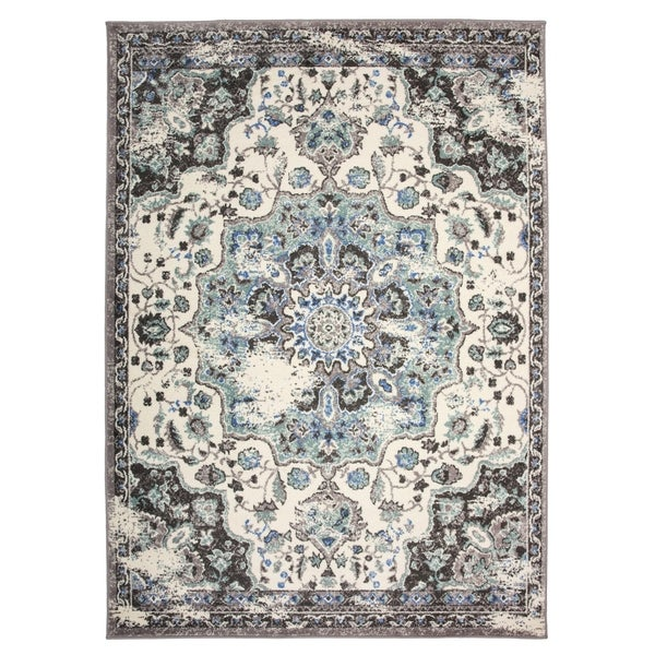 Traditional Oriental Distressed Area Rug Gray - 5' x 7'