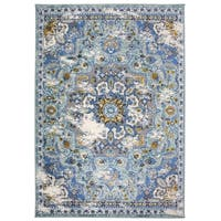 Traditional Oriental Distressed Area Rug Blue - 5' x 7'
