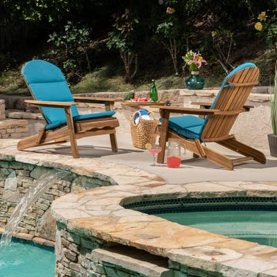 Malibu Outdoor Acacia Wood Folding Adirondack Chairs with Cushions (Set of 2) by Christopher Knight Home