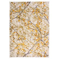 Distressed Modern Floral Branches Area Rug Beige - 5' x 7'
