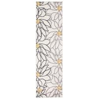 Contemporary Modern Large Floral Runner Rug Cream - 2' x 7'
