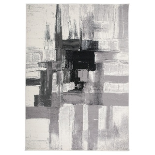 """Contemporary Modern Abstract Area Rug Black - 3'3"""" x 5'"""