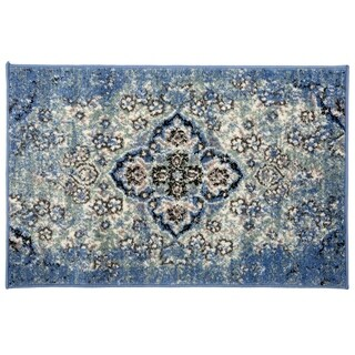 Traditional Distressed Oriental Design Rug Blue - 2' x 3'