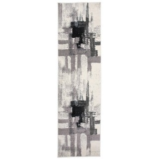 Contemporary Modern Abstract Runner Rug Black - 2' x 7' Runner