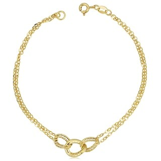 Fremada 14k Yellow Gold Diamond-cut Link Double Strand Bracelet (7.5 inches)
