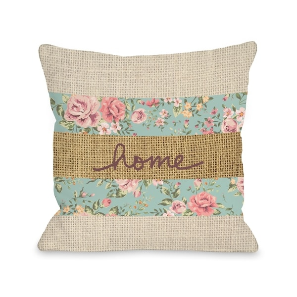 Home Floral Burlap - Multi Pillow by OBC