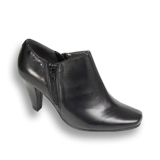 PEERAGE Kacey Women Extra Wide Width Leather Heeled Ankle Bootie