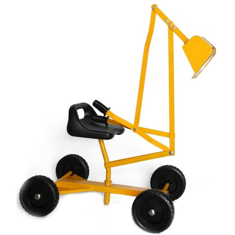 Metal Sand Digger Toy Crane with wheels - Yellow - 33x16x22
