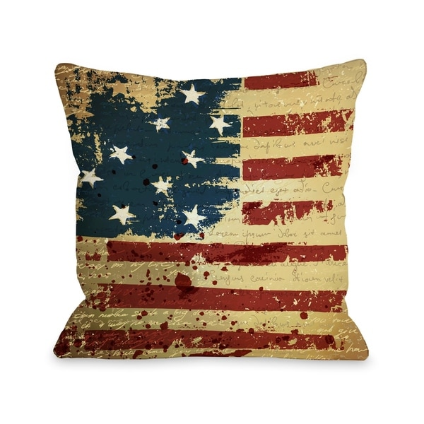 Vintage American Flag Pillow by OBC