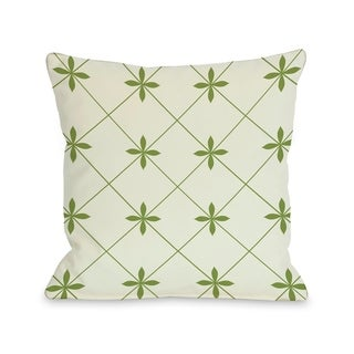 Crisscross Flowers - Ivory Green   Pillow by OBC