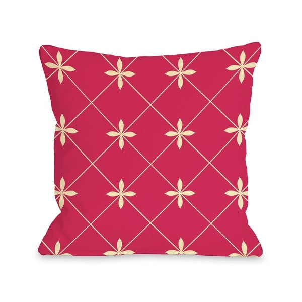 Crisscross Flowers - Pink Yellow Pillow by OBC